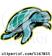 Clipart Of A Tough Kemps Ridley Sea Turtle Animal Mascot Royalty Free Vector Illustration