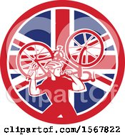 Clipart Of A Retro Male Cyclist Carrying A Bicycle On His Back In A Union Jack Flag Circle Royalty Free Vector Illustration