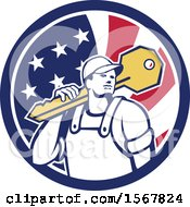 Clipart Of A Cartoon Male Locksmith Carrying A Giant Key Over His Shoulder In An American Flag Circle Royalty Free Vector Illustration