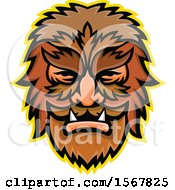 Clipart Of A Retro Circus Freak Wolfman Head Mascot Royalty Free Vector Illustration