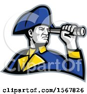 Clipart Of A Retro British Admiral Looking Through A Telescope Spyglass Royalty Free Vector Illustration by patrimonio
