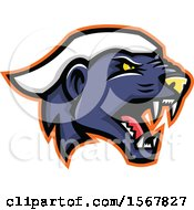 Clipart Of A Tough Honey Badger Animal Mascot Head Royalty Free Vector Illustration