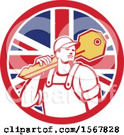 Clipart Of A Cartoon Male Locksmith Carrying A Giant Key Over His Shoulder In A Union Jack Flag Circle Royalty Free Vector Illustration