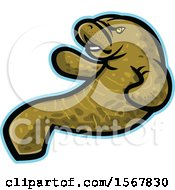 Clipart Of A Tough Manatee Animal Mascot Royalty Free Vector Illustration