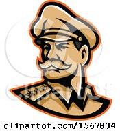 Retro American Three Star General Wearing A Peaked Cap