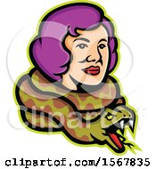 Clipart Of A Retro Circus Freak Lady Snake Charmer With A Python Around Her Neck Royalty Free Vector Illustration