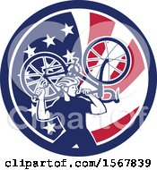 Poster, Art Print Of Retro Male Cyclist Carrying A Bicycle On His Back In An American Flag Circle