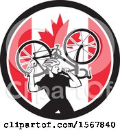 Clipart Of A Retro Male Cyclist Carrying A Bicycle On His Back In A Canadian Flag Circle Royalty Free Vector Illustration