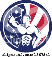 Clipart Of A Retro Bodybuilder Doing Bicep Curls With A Dumbbell In An American Flag Circle Royalty Free Vector Illustration