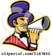 Clipart Of A Retro Circus Ringmaster Using A Megaphone Royalty Free Vector Illustration by patrimonio