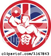 Retro Bodybuilder Doing Bicep Curls With A Dumbbell In A Union Jack Flag Circle