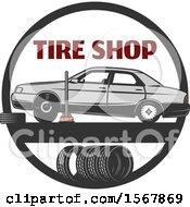 Clipart Of A Car Repair Tire Shop Design Royalty Free Vector Illustration