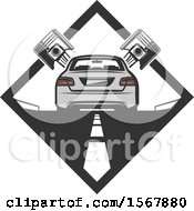 Clipart Of A Car And Piston Repair Design Royalty Free Vector Illustration