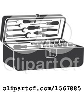 Clipart Of A Tool Box Automotive Icon Royalty Free Vector Illustration