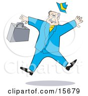 Scared Businessman Dropping His Briefcase While Jumping