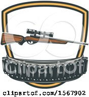 Clipart Of A Hunting Rifle And Bullets Design Royalty Free Vector Illustration by Vector Tradition SM