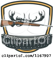 Clipart Of A Hunting Rifle Bullets And Antlers Design Royalty Free Vector Illustration by Vector Tradition SM