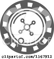 Clipart Of A Grayscale Casino Roulette Wheel Icon Royalty Free Vector Illustration