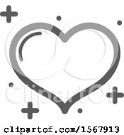 Grayscale Casino Heart Playing Card Suit Icon