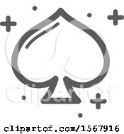 Grayscale Casino Spade Playing Card Suit Icon