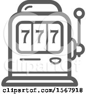 Clipart Of A Grayscale Casino Slot Machine Icon Royalty Free Vector Illustration