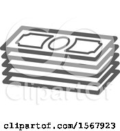 Clipart Of A Grayscale Casino Cash Money Icon Royalty Free Vector Illustration