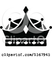 Clipart Of A Black And White Crown Royalty Free Vector Illustration