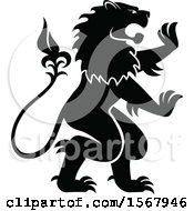 Clipart Of A Black And White Heraldic Rampant Lion Royalty Free Vector Illustration by Vector Tradition SM