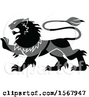 Clipart Of A Black And White Heraldic Lion Royalty Free Vector Illustration