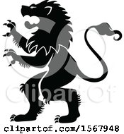 Clipart Of A Black And White Heraldic Rampant Lion Royalty Free Vector Illustration