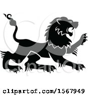 Clipart Of A Black And White Heraldic Lion Royalty Free Vector Illustration by Vector Tradition SM