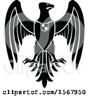 Clipart Of A Black And White Heraldic Eagle Royalty Free Vector Illustration by Vector Tradition SM