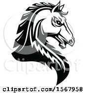 Clipart Of A Black And White Tough Stallion Royalty Free Vector Illustration