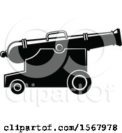 Clipart Of A Black And White Canon Royalty Free Vector Illustration