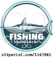 Blue Marlin Over Fishing Tournament Text