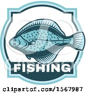 Clipart Of A Flounder Over Fishing Text Royalty Free Vector Illustration