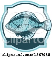Clipart Of A Blue Flounder Fish Royalty Free Vector Illustration
