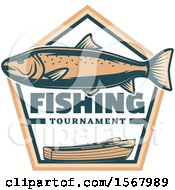 Trout Over Crossed Paddles A Boat And Fishing Tournament Text
