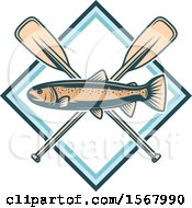 Clipart Of A Trout Over Crossed Paddles Royalty Free Vector Illustration