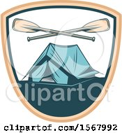 Clipart Of A Tent And Crossed Oars In A Shield Royalty Free Vector Illustration