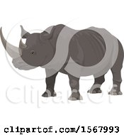 Clipart Of A Rhinoceros Royalty Free Vector Illustration by Vector Tradition SM