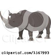 Clipart Of A Rhinoceros Royalty Free Vector Illustration
