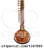 Clipart Of A Sketched Sitar Instrument Royalty Free Vector Illustration