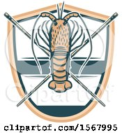 Clipart Of A Lobster And Crossed Sticks Over A Shield Royalty Free Vector Illustration