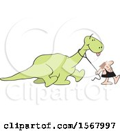 Clipart Of A Cartoon Caveman Walking His Dinosaur Royalty Free Vector Illustration