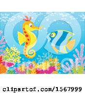 Clipart Of A Butterflyfish And Seahorse Over A Reef Royalty Free Vector Illustration