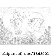Clipart Of A Lineart Butterflyfish And Seahorse Over A Reef Royalty Free Vector Illustration