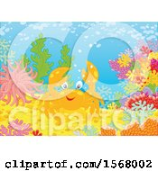 Clipart Of A Happy Crab On A Reef Royalty Free Vector Illustration