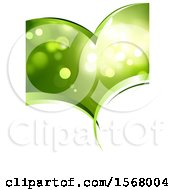 Green Background With Flares Inside A Heart Shape On White