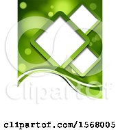 Green Background With Flares And Diamond Frames On White